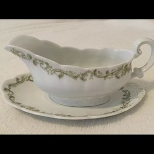 LIMOGES Vintage Gravy Boat and Plate Green Scroll